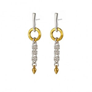 """""""Circle of Life"""" Byzantine – sterling silver Byzantine chainmail & 24k yellow gold vermeil ring earrings"""