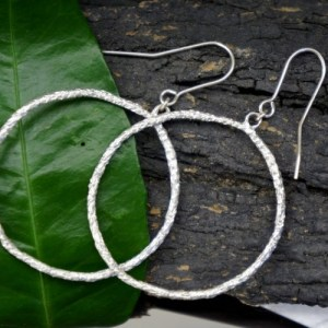 Nature hoop earrings in Sterling Silver. Large hoop branch pine tree. From Mother nature jewelry