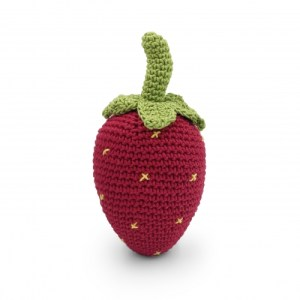 Strawberry – Baby Rattle 100% Organic Coton