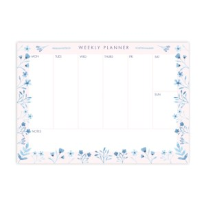 Blue Blooms A5 Weekly Planner Notepad