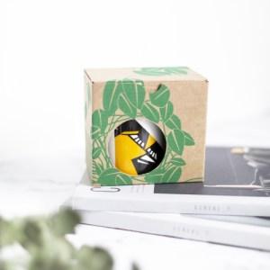 Bird mug in box with printed leaves and circle cut out to reveal design on mug. Oriole bird mug, orange and black