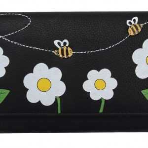Black Bee & Flower Large Picture Purse with Yellow Trim – 731