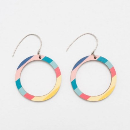 colourful wooden hoop earrings made by Unique Ella Sustainable Jewellery