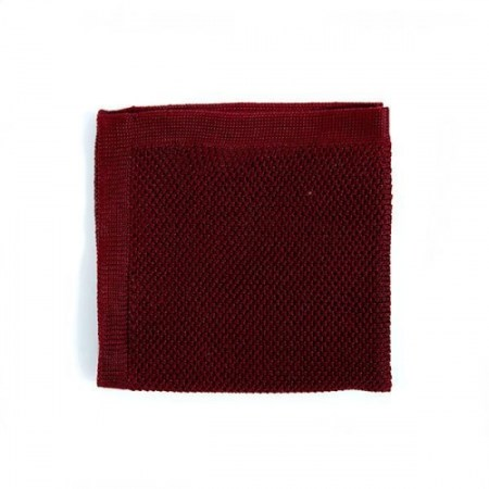 Burgundy knitted pocket square