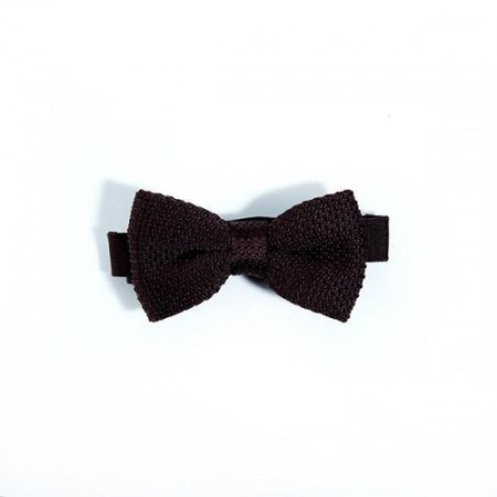 Children's brown knitted bow tie