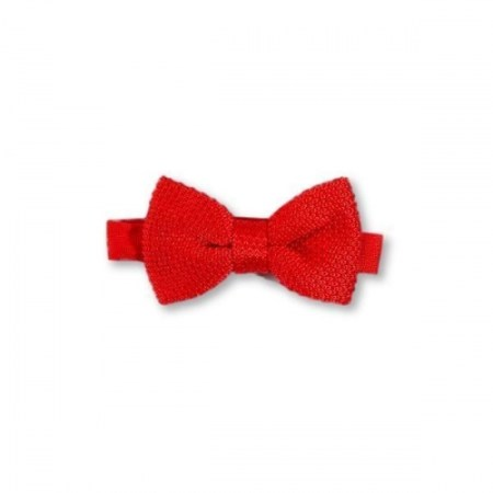 Children's pillar box red knitted bow tie
