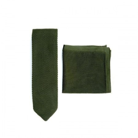 Moss green knitted tie and pocket square set