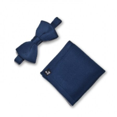 Midnight blue knitted bow tie and pocket square set