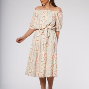 Lyndsay Dress in Beige Coral Geometric Print