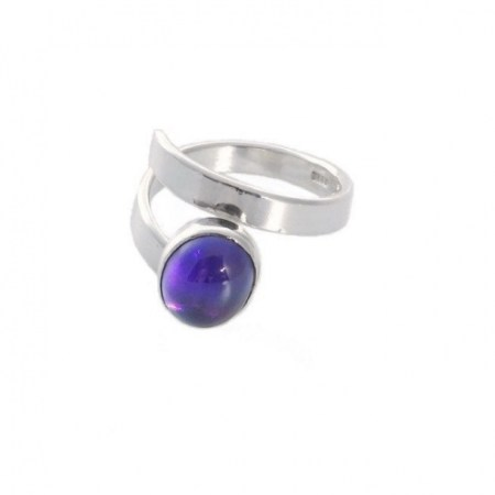 Silver Amethyst Ring, Sterling Silver Adjustable Ring, Natural Amethyst Cabochon, February Birthstone and 6th Year Anniversary Gift