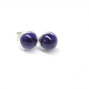 Silver Amethyst Earrings, February Birthstone Studs, Natural Amethyst Jewellery, Purple Amethyst Studs, Gemstone Earrings