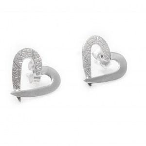 Love Heart Stud Earrings, Heart Sterling Silver Earrings, Silver Leaf Heart Jewellery, Birthday Gift for Her, Anniversary Gift for wife