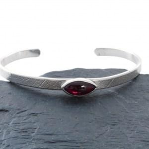Garnet Bangle, Sterling Silver Cuff Bracelet, Garnet Jewellery, Birthstone Silver Bracelet, Gift For Her
