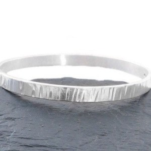 Sterling Silver Bangle, Solid Silver Bracelet, Sterling Silver Textured Bangle, Silver Textured Jewellery, Gift for Her