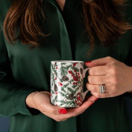 Cherith Harrison Christmas Garden Bone China Mug Side 2 Hands