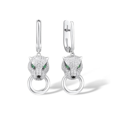 Sterling Silver Panther Drop Earrings for Women