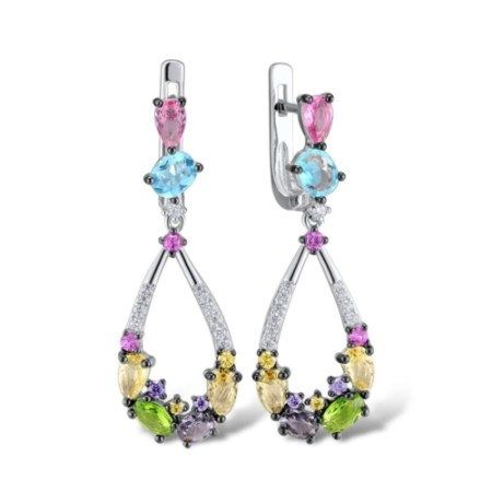 Sterling Silver Colourful Drop Earrings for Women with Multicoloured Stones and Cubic Zirconia Gemstones