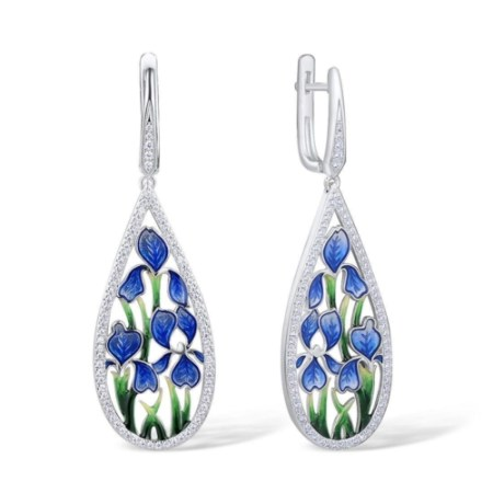 Sterling Silver Statement Drop Earrings for Women with Enamel Flower Details and Cubic Zirconia Gemstones