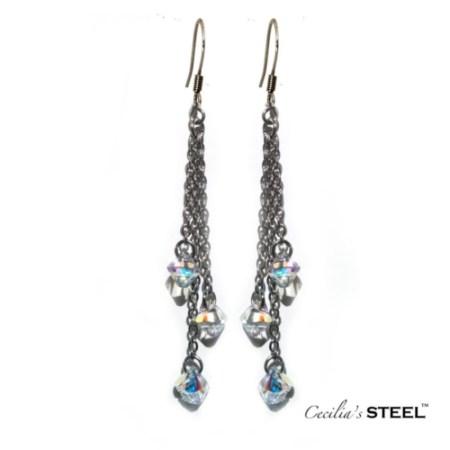 Crystal Whispers 3 Strands Earrings