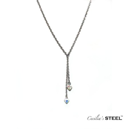 Crytal Whispers adjustable y lariat y necklace with crystals and stainless steel