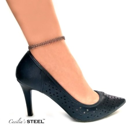 Stainless steel chainmail anklet by Cecilia's Steel