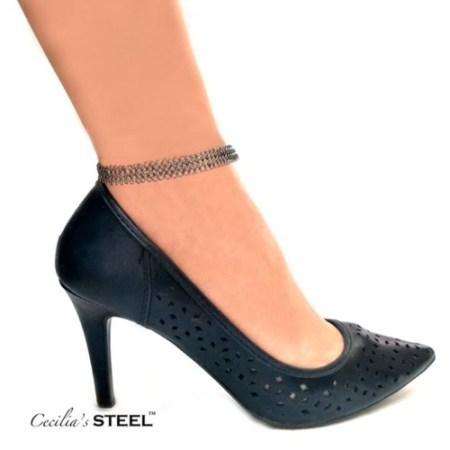 Stainless steel chain mail anklet by Cecilia's Steel
