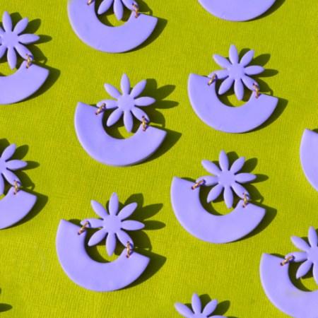 Lilac Flower Shape Earrings by Sophie Filomena
