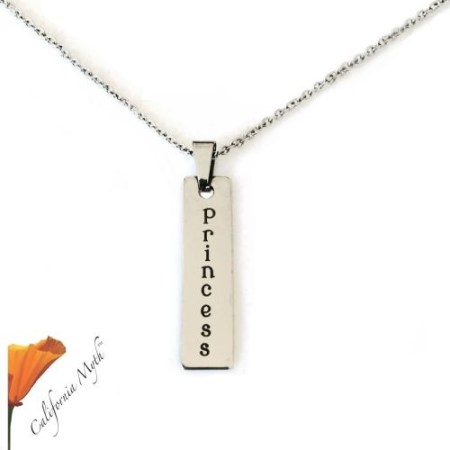 Princess laser engraved stainless steel bar pendant necklace.