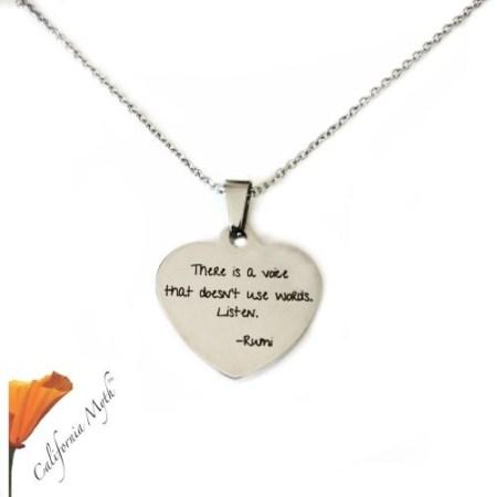 Rumi Quote Heart Pendant