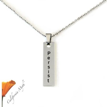 Persist Bar Pendant. Stainlness Steel Laser Engraved with Stainless Steel Chain