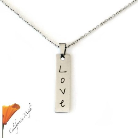 Love Bar Pendant with Stainless Steel Chain. Laser Engraved