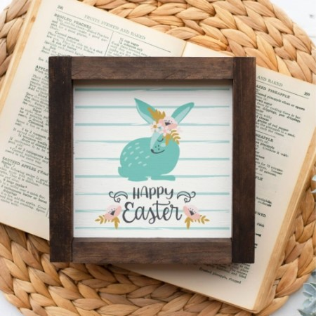 Wood Sign   Whimsy Bunny 5x5