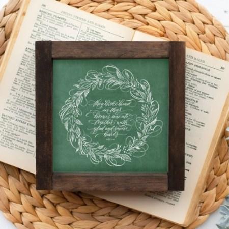 Wood Sign-They Broke Bread Green Chalk 5x5