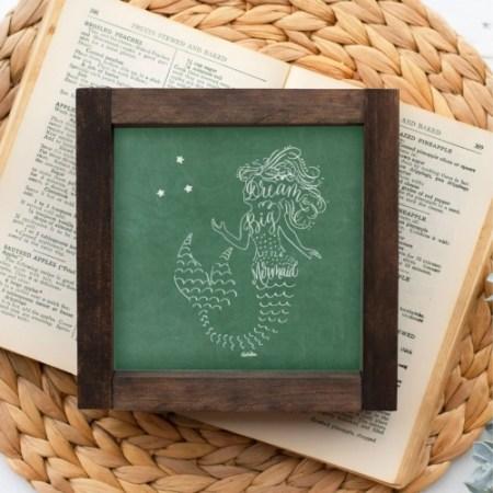 Wood Sign-Mermaid Green Chalk 5x5