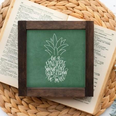 Wood Sign-Pineapple Green Chalk 5x5