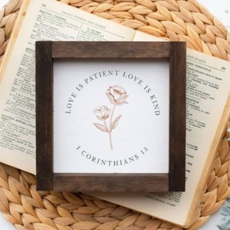 Wood Sign-Love Is Patient Botanical 5x5