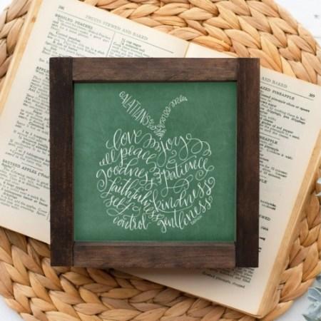 Wood Sign-Fruit Of The Spirit Green Chalk 5x5