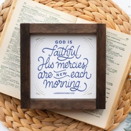 Wood Sign-God Is Faithful 5x5