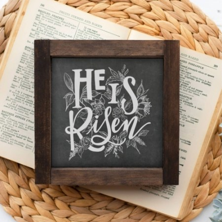 Wood Sign   He is Risen 5x5