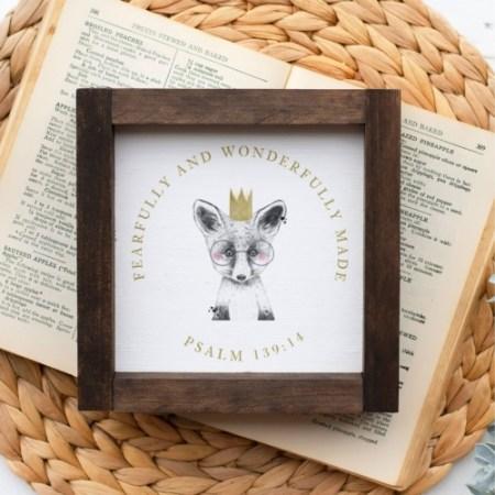 Wood Sign-Fox & Crown 5x5