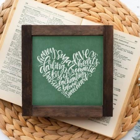 Wood Sign-Darling Heart Green Chalk 5x5