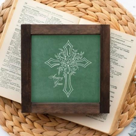 Wood Sign-Amazing Grace Floral Cross 5x5