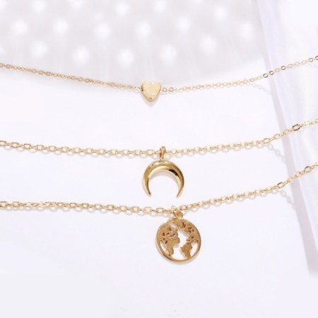 3 Piece Necklace 18K Gold Plated Necklace in 18K Gold Plated