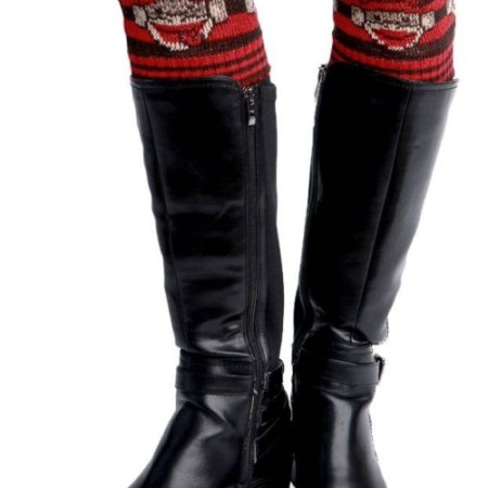 Womens Recycled Cotton Boot Cuff - Sock Monkey