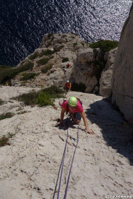 Dièdre Guem, Calanques grimpe, grande voie facile