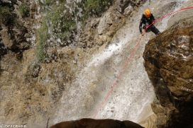 Abseilling, canyon waterfall, canyoning in Guillestre