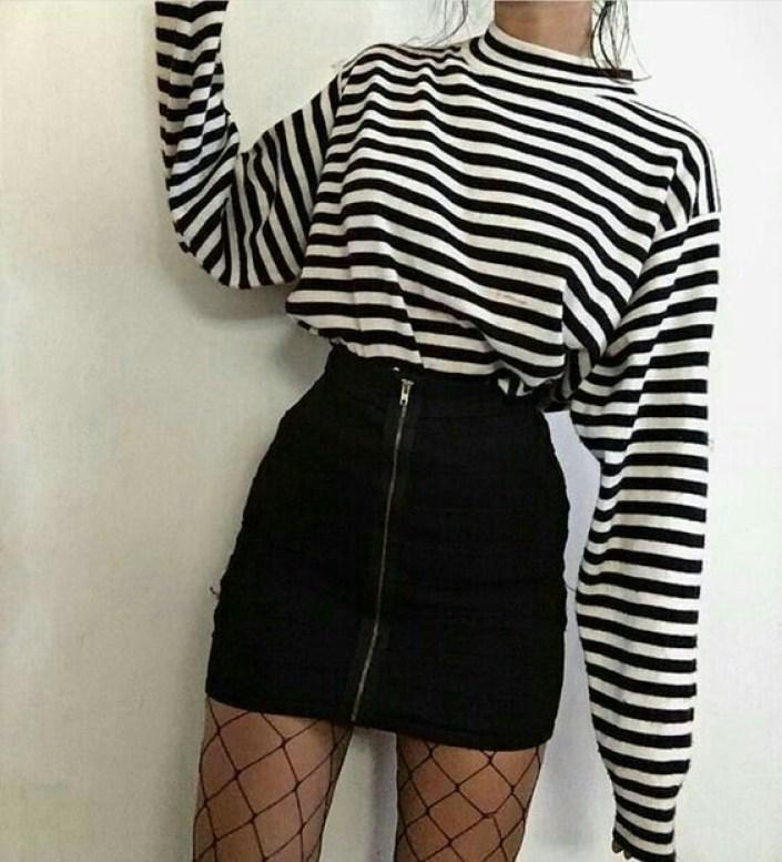 moda-retro-cintura-alta-saia-listra