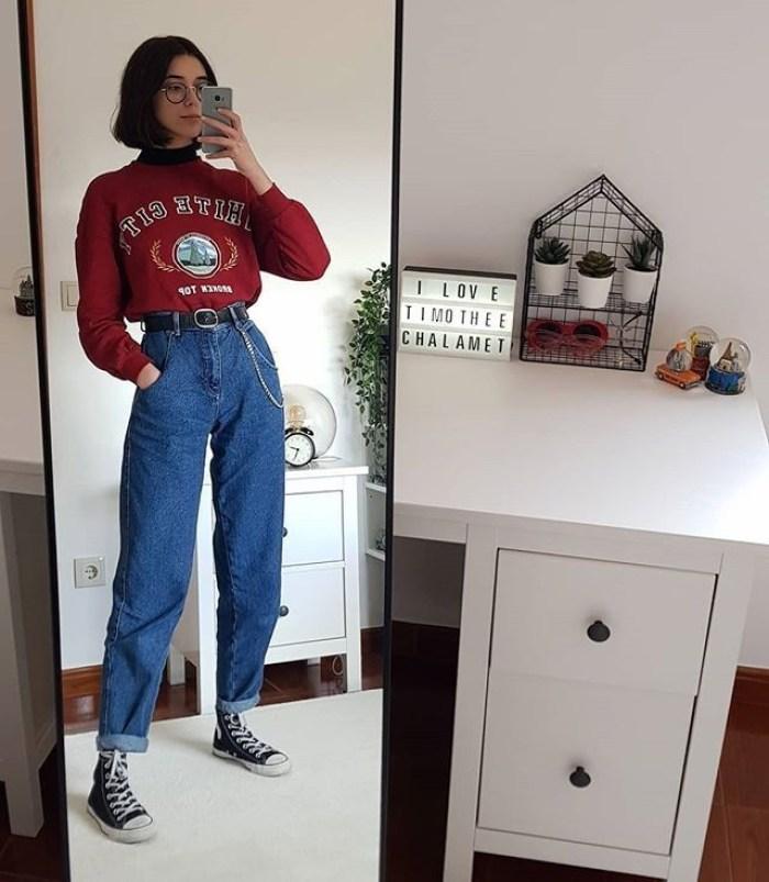 moda-retro-calça-cintura-alta-moletom-tenis
