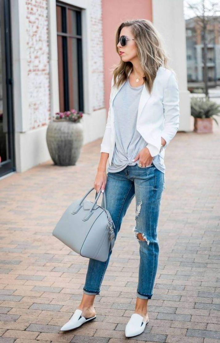 mule com calça jeans look casual