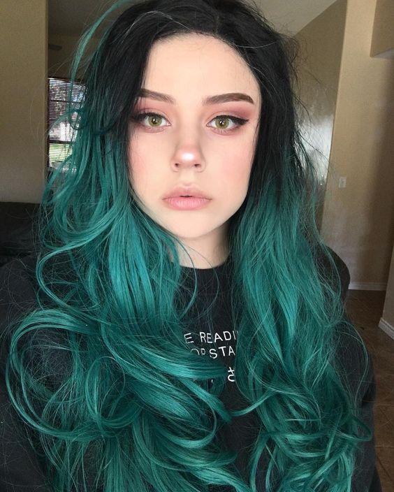 cabelo colorido verde
